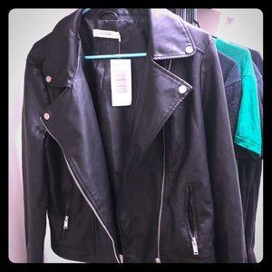 Just fab oversized riding (vegan) leather jacket